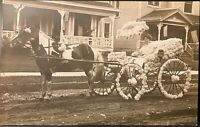 Real Photo Postcard RPPC ~ Woman In Horse Drawn Flower Decorated Carriage~Parade