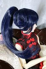 "1/4 8"" BJD DOLL WIG SD BLUE PONYTAIL HAIR SHORT BANGS LUTS DOLLFIE JR-49 USA"