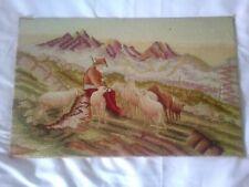 Quadro mezzo punto PASTORE con PECORE montagna ricamato a mano ricamo vintage