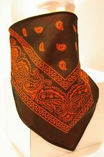 Black orange fleece lined bandana motorcycle skiing face mask