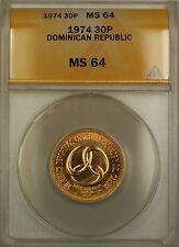 1974 Dominican Republic 30P Pesos Gold Coin ANACS MS-64