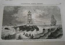 Gravure 1864 - Phare de l'enfant perdu