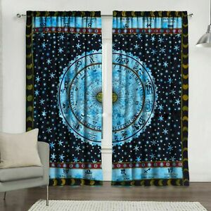 Hippie Geometrical Astrology Widow Door Curtain Home Decor Arched Valance Tiedye
