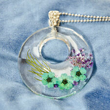 HAND MADE JEWELLERY,REAL FLOWERS  PENDANT-RING (TURQUOISE)