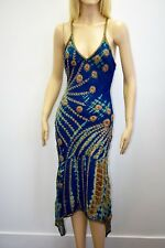 AFTER SHOCK WOMEN'S DESIGNER BLUE BEADED DRESS SIZE M ON SALE DF
