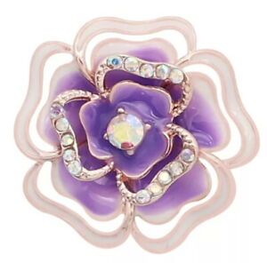 Rose Gold Purple Rhinestone Flower 20mm Snap Charm For Ginger Snaps Magnolia