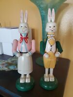 """Easter Bunny Rabbit Figurines Mr. & Mrs. Wooden Bunny Candle Holders 12"""" Tall"""