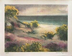 Luciano PASQUINI   litografia a colori Paesaggio Marino 50x40 firmata numerata