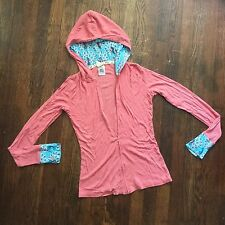 MUNKI MUNKI Medium Coral Soft Knit Peacock Sleepwear Zipper Hoodie Jacket B13