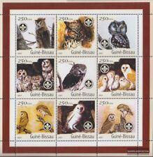 Guinée-bissau 1428-1436 Feuille miniature neuf avec gomme originale 2001 Oiseaux