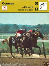 "FICHE CARD : ""Affirmed"" contre ""Alydar""  HORSE RACING COURSES HIPPIQUES 70s"
