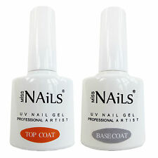 Miss Nails® TOP and BASE COAT For UV LED Nail Gel Soak Off Polish BULK PACK 10ml