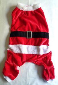 Christmas Santa Dog Suit Size Medium Red Plush Velour w/ Attached Belt 16-20Neck