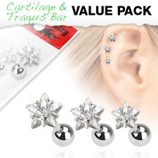 3 Pc Star CZ Ear Cartilage Daith Tragus Helix Earrings Barbell Studs