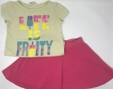 H M Girls Outfit Set w/ T Shirt Top and Pink Skirt Summer Size 6 6X 7 8