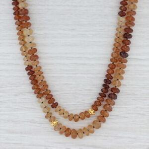New Nina Nguyen Garnet Bead Necklace Sterling Silver Gold Vermeil Long Statement