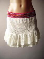 Ivory Crochet Lace Ruffle Flounce Festive Folk Embroider Mini 266 mv Skirt S M L
