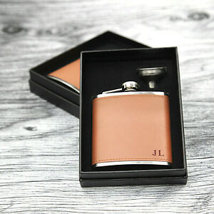 Mens Personalised Flask -Groomsmen Gift - Leather Hip Flask Engraved + Gift Box