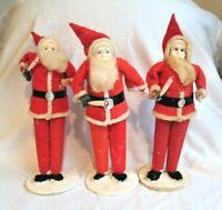 VINTAGE JAPAN SANTA CHRISTMAS LOT SPUN COTTON FELT CELLULOID CHENILLE  7 INCHES
