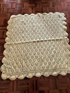 Vintage Thick Hand Crochet Baby Blanket Throw Rug Yellow Acrylic 110cm x 116cm
