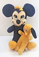 Vintage Minnie Mouse Walt Disney 1960 California Stuffed & Pluto Plush Japan OLD