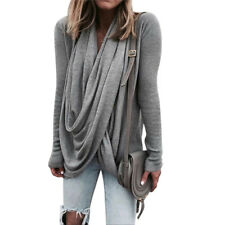 Women Fashion Autumn Winter Loose Casual Long Sleeve T-shirt Blouse Tops Shirts Gray M