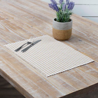 Set of 2 Taupe & White Gingham Check Cotton Placemats