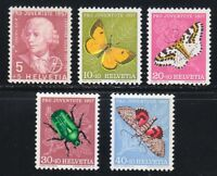 Switzerland 1957 MNH Mi 648-652 Sc B267-B271 Juventute.Butterflies.Insects.Euler