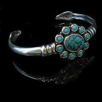 Sterling Silver Natural Turquoise Oval Cuff Bracelet