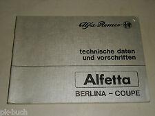 Handbuch Technische Daten Vorschriften Alfa Romeo Alfetta Berlina Coupé, 01/1984
