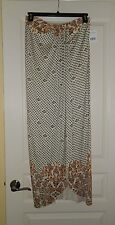 People Women's Sarong Maxi Skirt Sz M Ivory Floral Faux Wrap Style
