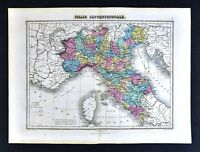 1877 Migeon Map North Italy Rome Florence Venice Milan Genoa Tuscany Vatican