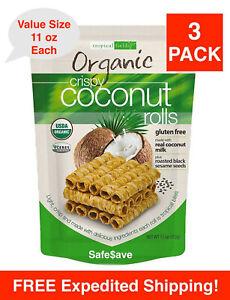 3 Packs Tropical Fields Organic Crispy Coconut Rolls 11 oz  Each Pack