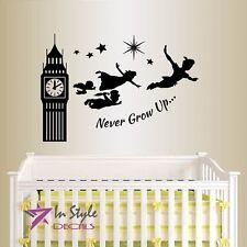 Vinyl Wall Decal Quote Never Grow Up Peter Pan Big Ben Kids Nursery Playroom 46