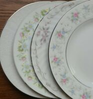 "4 Mismatched China 6"" Bread Dessert Plates Pink Green Blue Florals"
