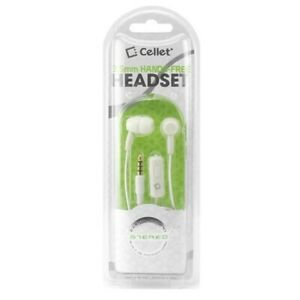 Cellet 3.5mm Hands Free Headset Stereo Earphones with Microphone – White