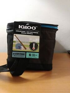 IGLOO Black Blue Zippered Insulated Lunch Box Bag Cooler Bag- 6 Can Size