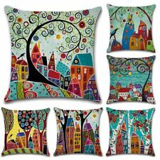 Cushion Cover Hand Paint Retro Linen Throw Pillow Car Home Decorative Pillowcase