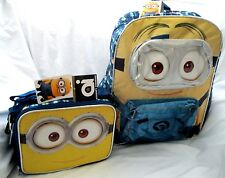 "Despicable Me 2 Dave Minion 3D 16"" Backpack + Minion Dave Face Matching Lunchbox"