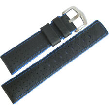 20mm Hirsch Performance Robby Black Sailcloth and Blue Rubber Watch Band Strap