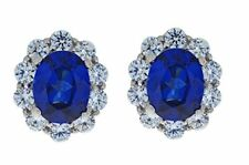 8 Ct Blue Sapphire & White Topaz Oval Stud Earrings White Gold Silver