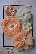 HANDMADE 5 Flower Mix APRICOT & CREAM Satin Lace Organza 30-70mm NjoyfullCrafts