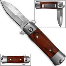 Mini Italian California Legal Spring Assist Milano Knife | Wood Handle A/O Tiny