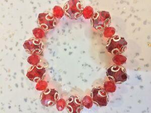 Red Glass Stretch Bracelet Brand New XMAS PRESENT WOMANS/GIRLS