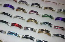 50 Mixed COLOURED Patterned ALUMINIUM Rings Gold Silver Black Red Blue Purple