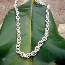 """Necklace - Sterling silver rope link necklace - stamped 925 Italy - 24"""" length"""