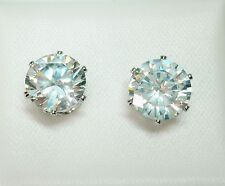 8mm Clear Round Crystal & Silver Tone Faceted Claw Set Stud Earrings