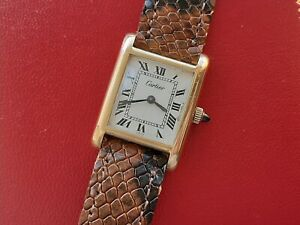 CARTIER TANK WATCH MANUAL GOLD ELECTRO PALTED LADY SWISS MADE