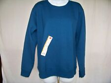 Hanes Womens Long Sleeve Crew Tee Shirt Medium Turquoise Crewneck T-shirt