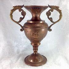Art Nouveau Vintage Copper Figural Nude Woman Vase Urn Metal Flowers Antique